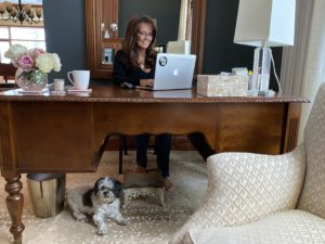 Kim at Desk with Bentley